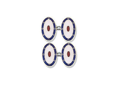 Silver Blue Border, White Face, Red Centre Enamel Cufflinks