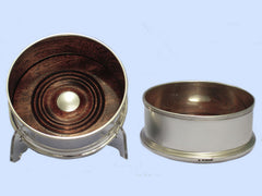 Pair of New Plain Round Silver Wine Coasters