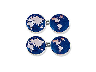 Silver 'New World, Old World' Enamel Cufflinks