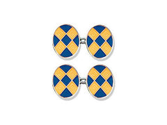Silver Blue & Yellow Diamond Enamel Cufflinks