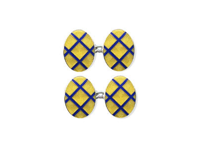 Silver Yellow Enamel Cufflinks with Blue Lattice