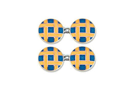 Silver Round Blue Enamel Cufflinks with Yellow Lattice