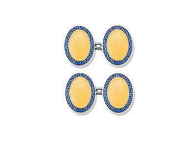 Silver Blue Greek Key & Yellow Centre Enamel Cufflinks