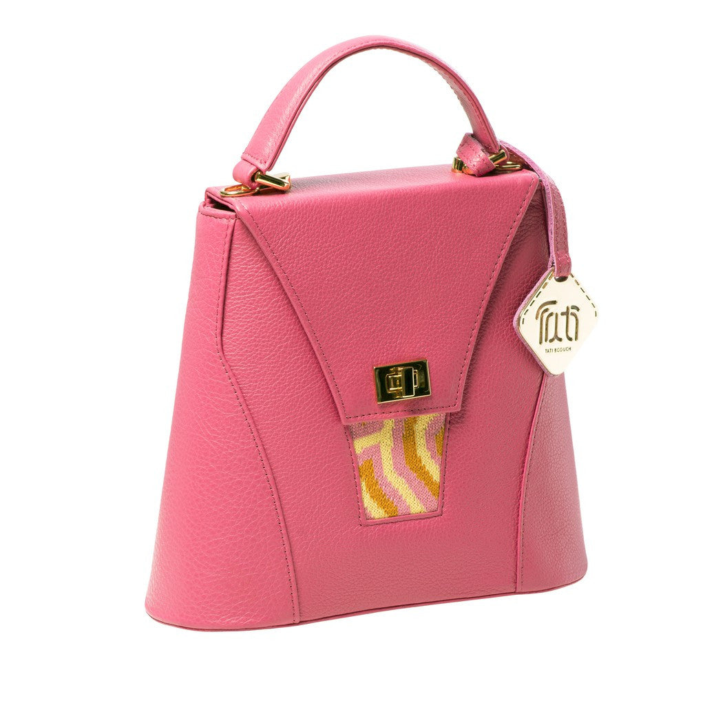 TATI BODUCH Designer Handbag, AGATE Mini Collection, genuine leather: pink, knitwear: pink