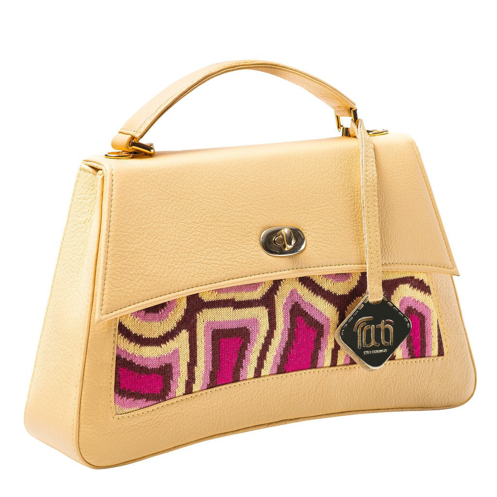 TATI BODUCH Designer Handbag, JASPER Collection, genuine leather: yellow, knitwear: magenta