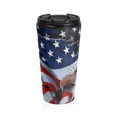 American Freedom Flag and Eagle Stainless Steel Travel Mug