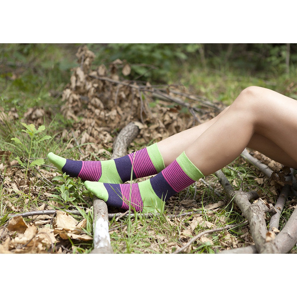 Womens 5-Pair Colorful Crew Socks