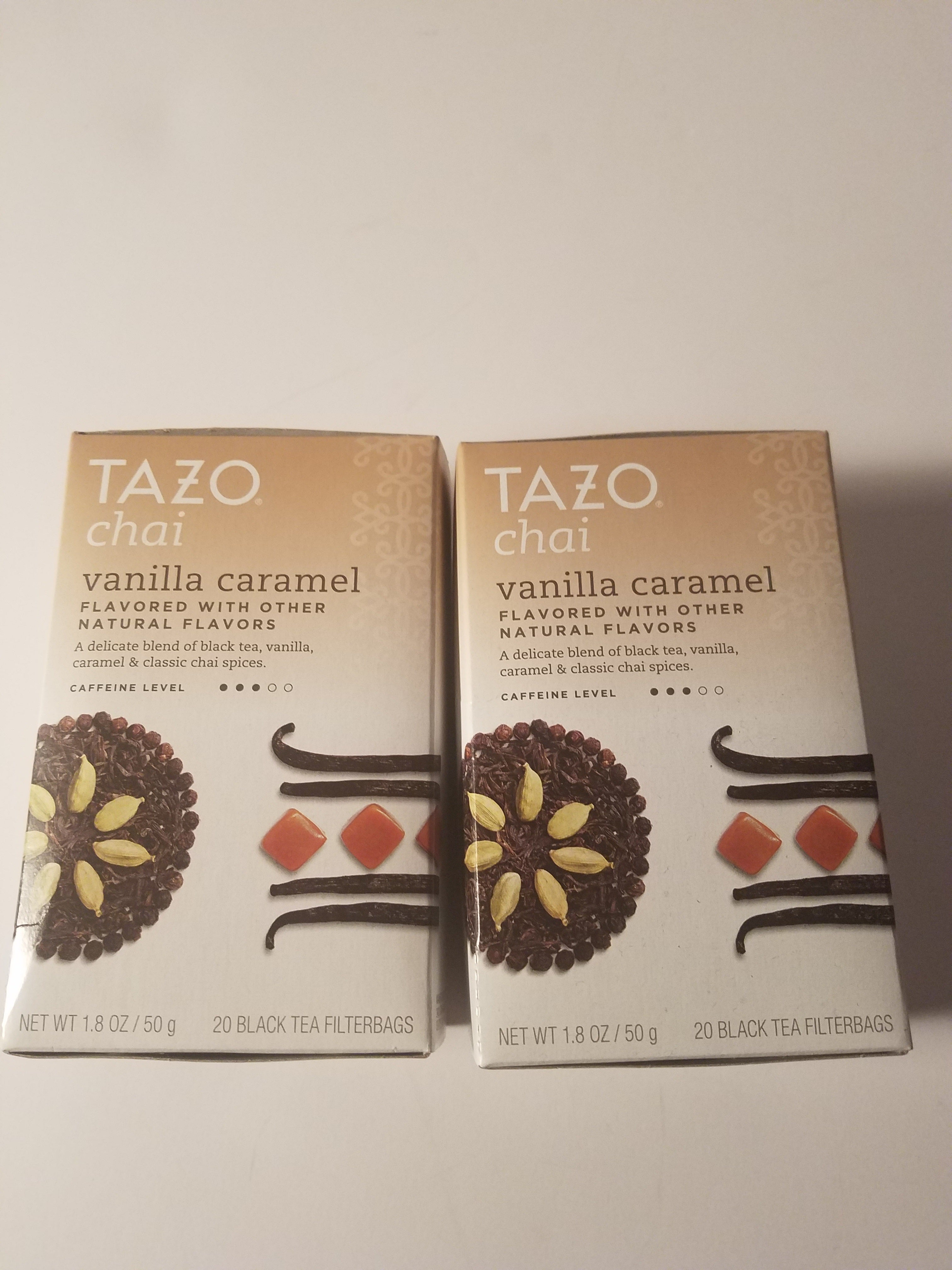 Tazo chai vanilla caramel black tea 20 filterbags lot of 2 boxes new in packages