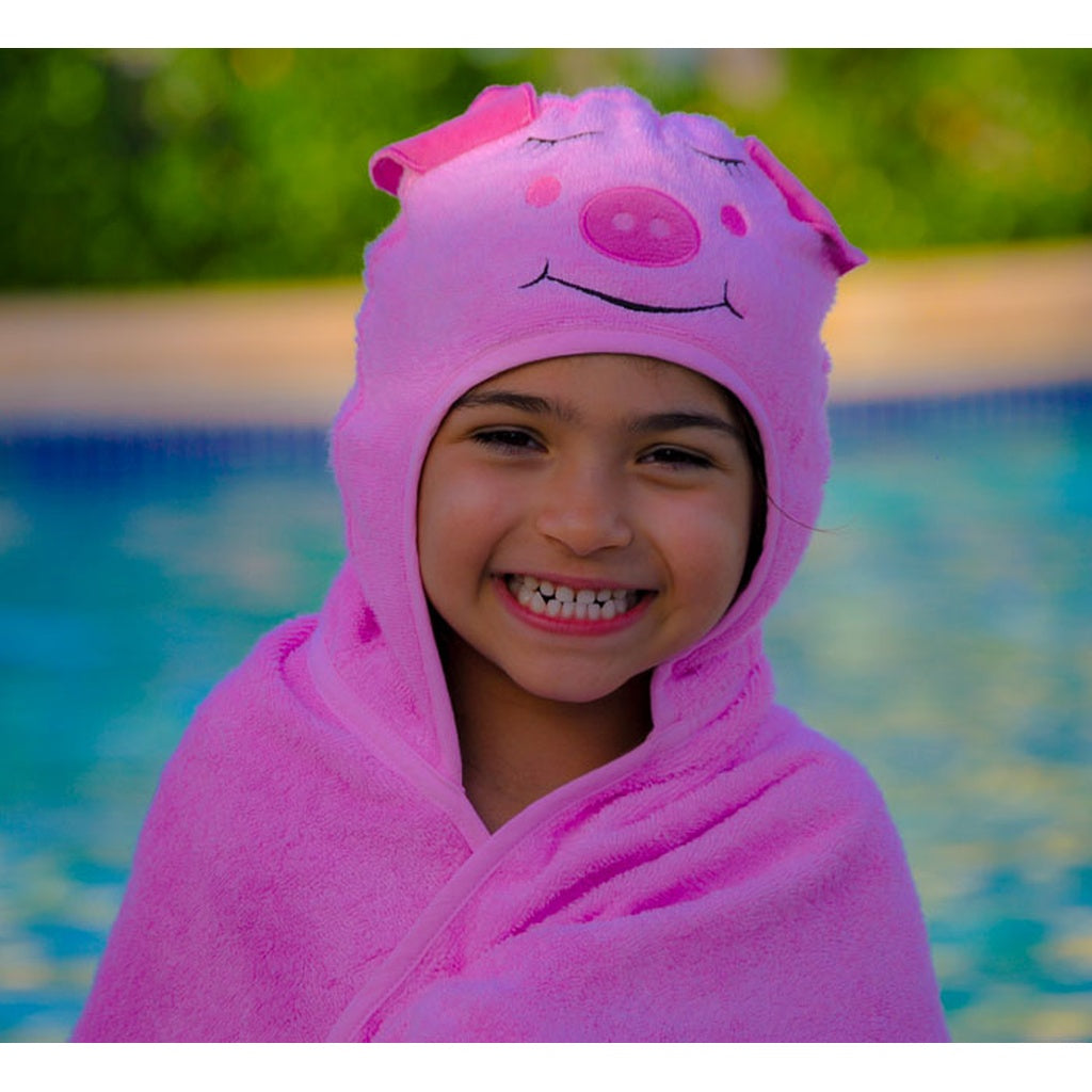 Bamboo rayon Piggy Hooded Turkish Towel: Little Kid