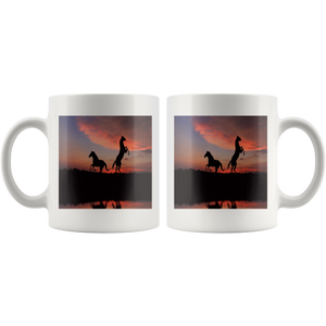 Horse sunset wild outdoors 11 ounce coffee mug