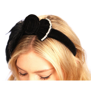 Feathered Bow Headband
