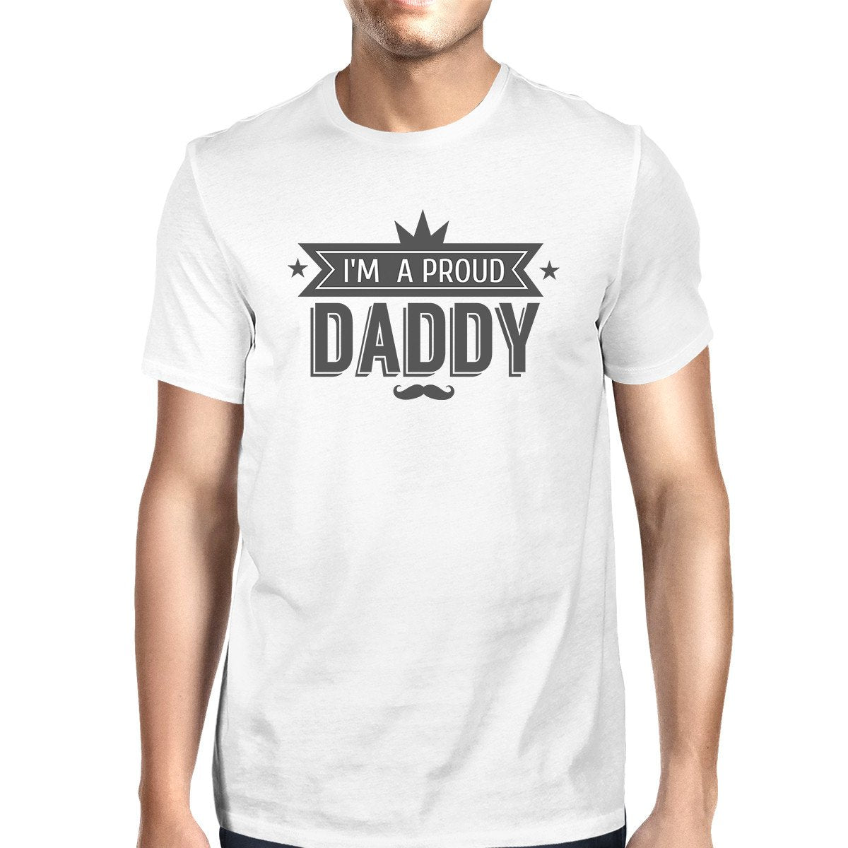 I'm A Proud Daddy Mens White Vintage Design Graphic T-Shirt For Men
