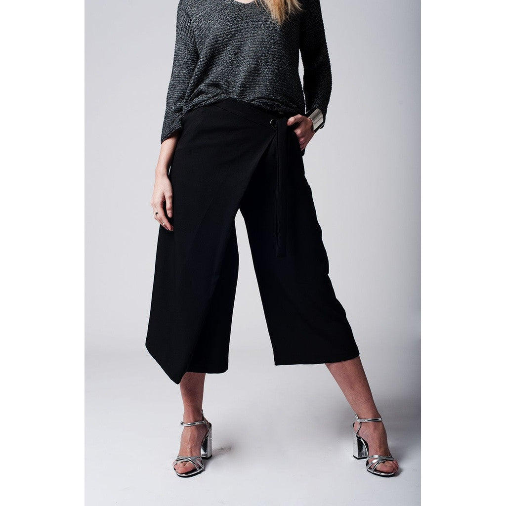 Black culotte with tie waist