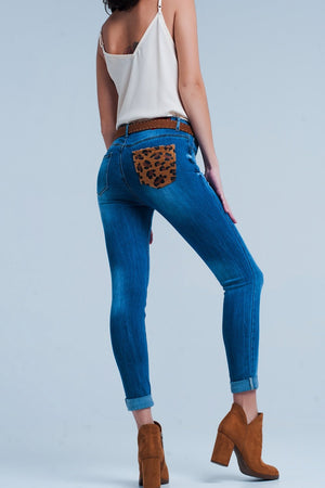 Skinny Jeans With Leopard Print Pocket Detail