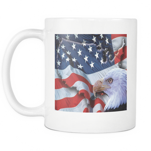 American Freedom Flag and Eagle double sided 11 ounce mug