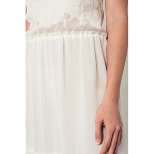 Crochet detail dress in white