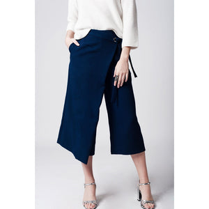 Navy blue culotte with tie waist