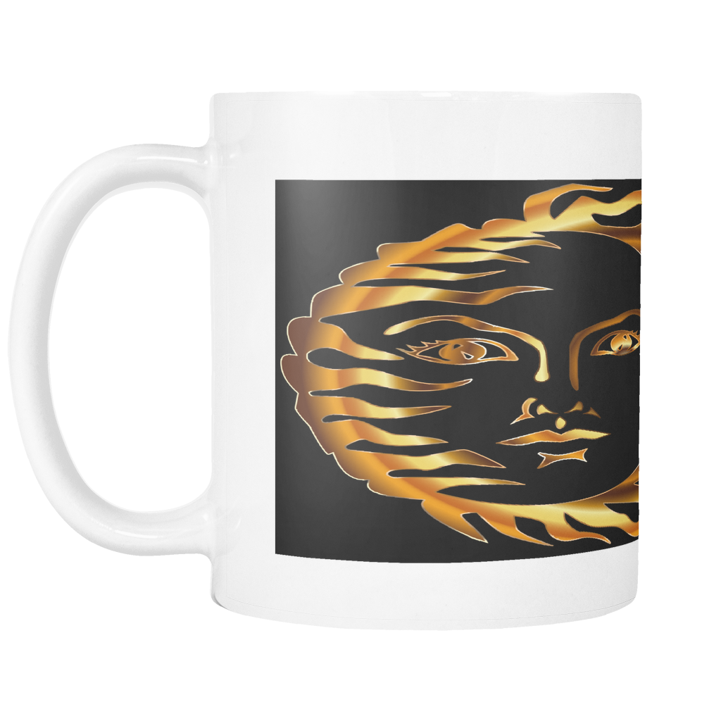 GOLDEN SUN FACE ON 11 OUNCE COFFEE MUG