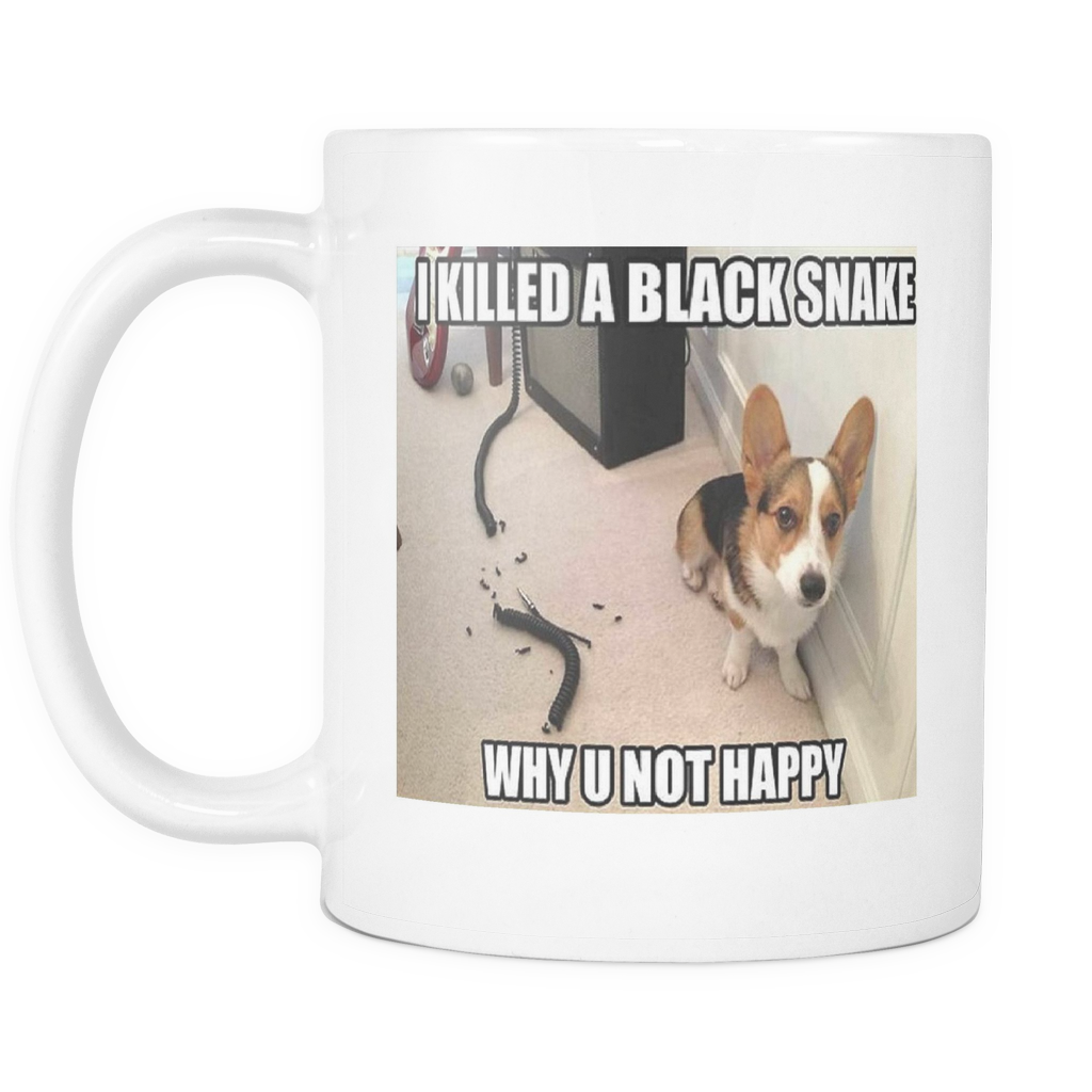 Dog kills snake meme on 11 ounce double sided mug