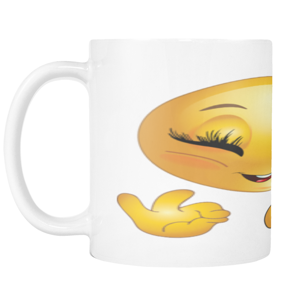 GIRL SMILEY WITH BOW ON 11 OUNCE COFFEE MUG