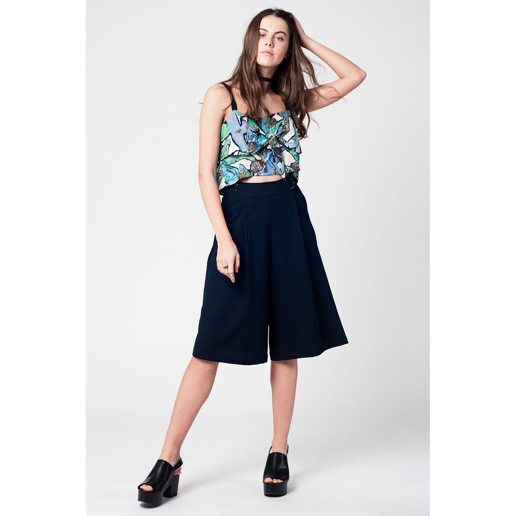 Blue crop top with leaves print