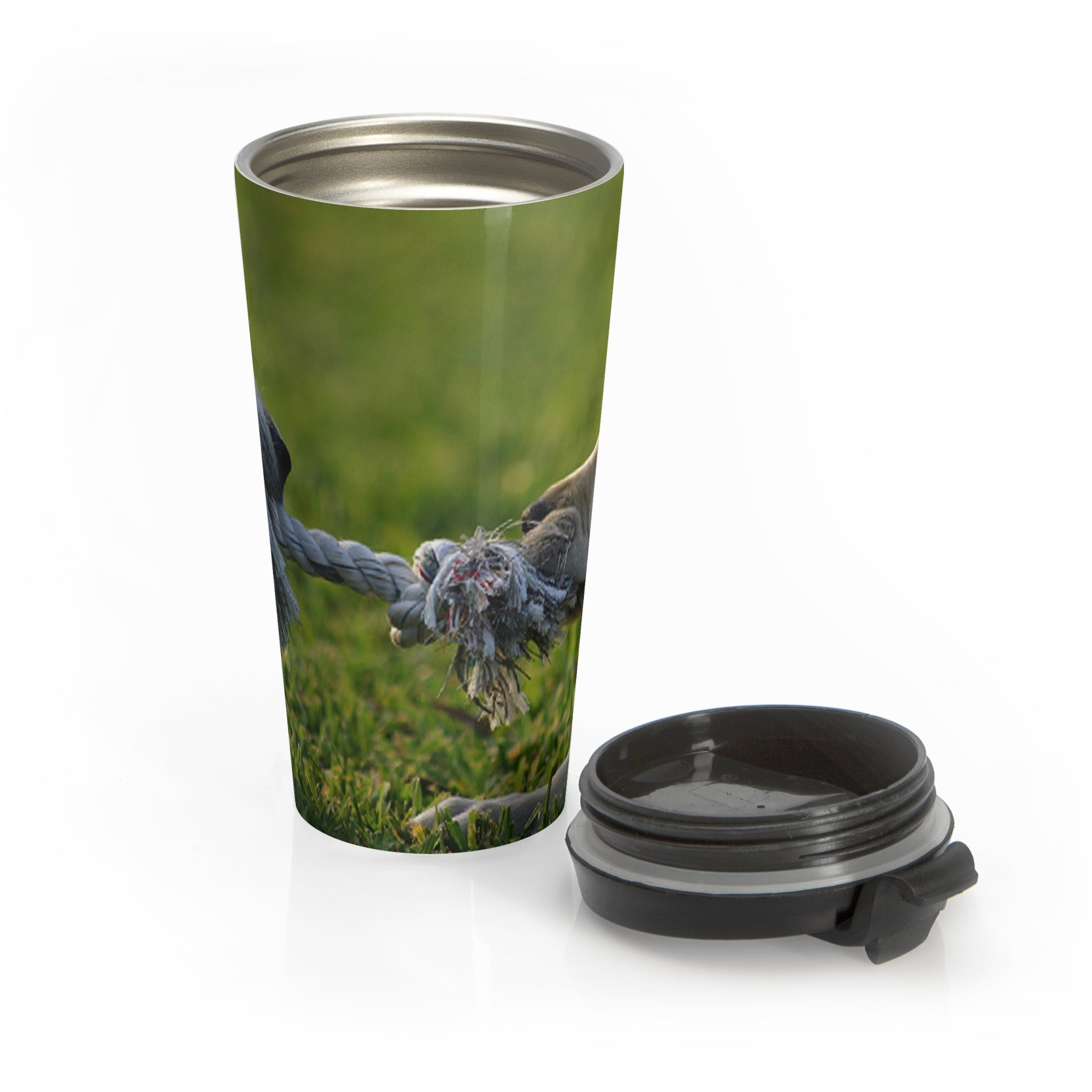 Puppy tug of war wraparound  Stainless Steel Travel Mug