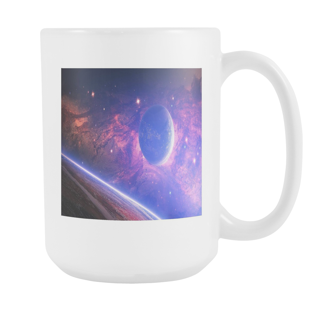 Planet with light spots double sided 15 ounce coffee mug