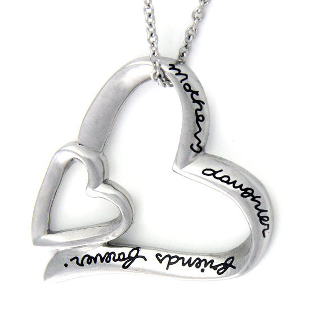 Heart Necklace Mother, Daughter Forever Friends Mother Daughter Necklace