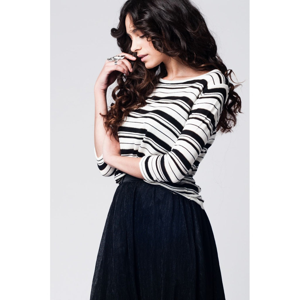 Black striped knit sweater