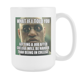 WORK AFTER COLLEGE MEME 15 OUNCE COFFEE MUG