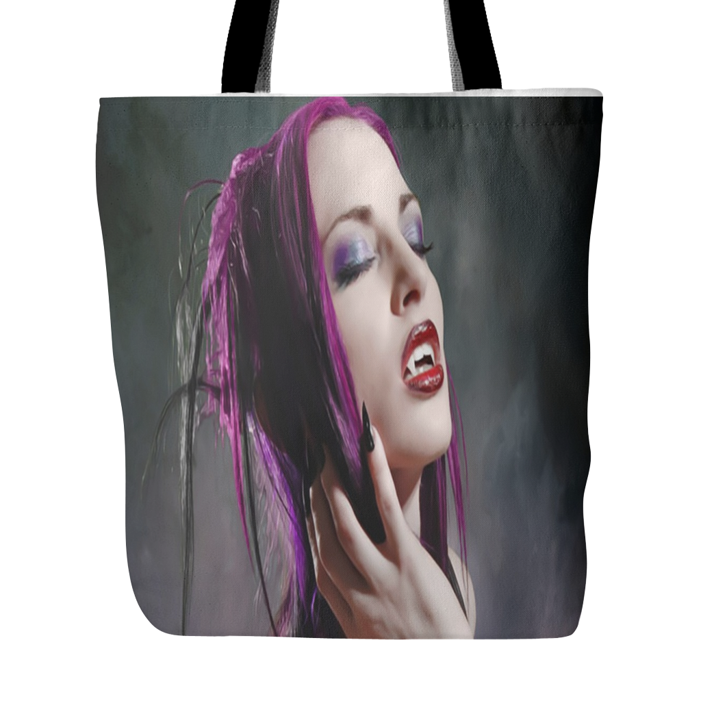 VAMPIRE WITH PURPLE HAIR TOTE BAG