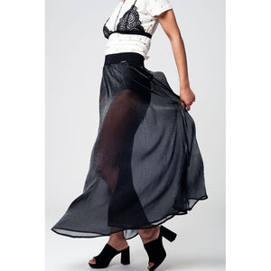 Black maxi skirt in chiffon fabric