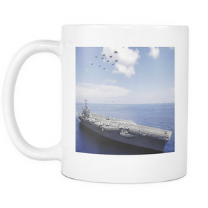 USS Abraham Lincoln Aircraft Carrier Double sided 11 ounce coffee mug