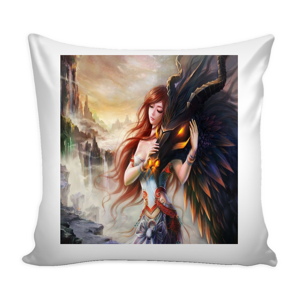 DRAGON AND GIRL FANTASY PILLOW COVER