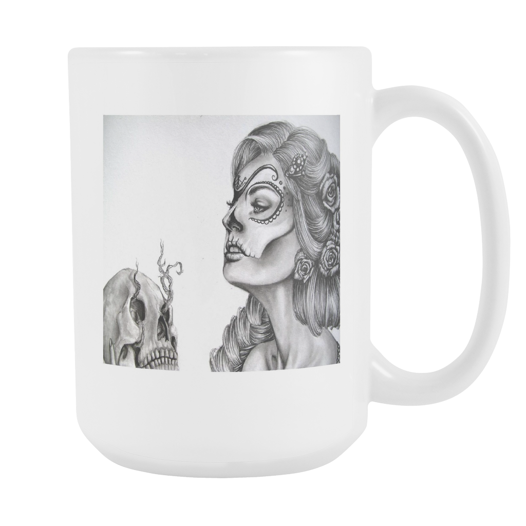 Skull art fantasy double sided 15 ounce coffee mug
