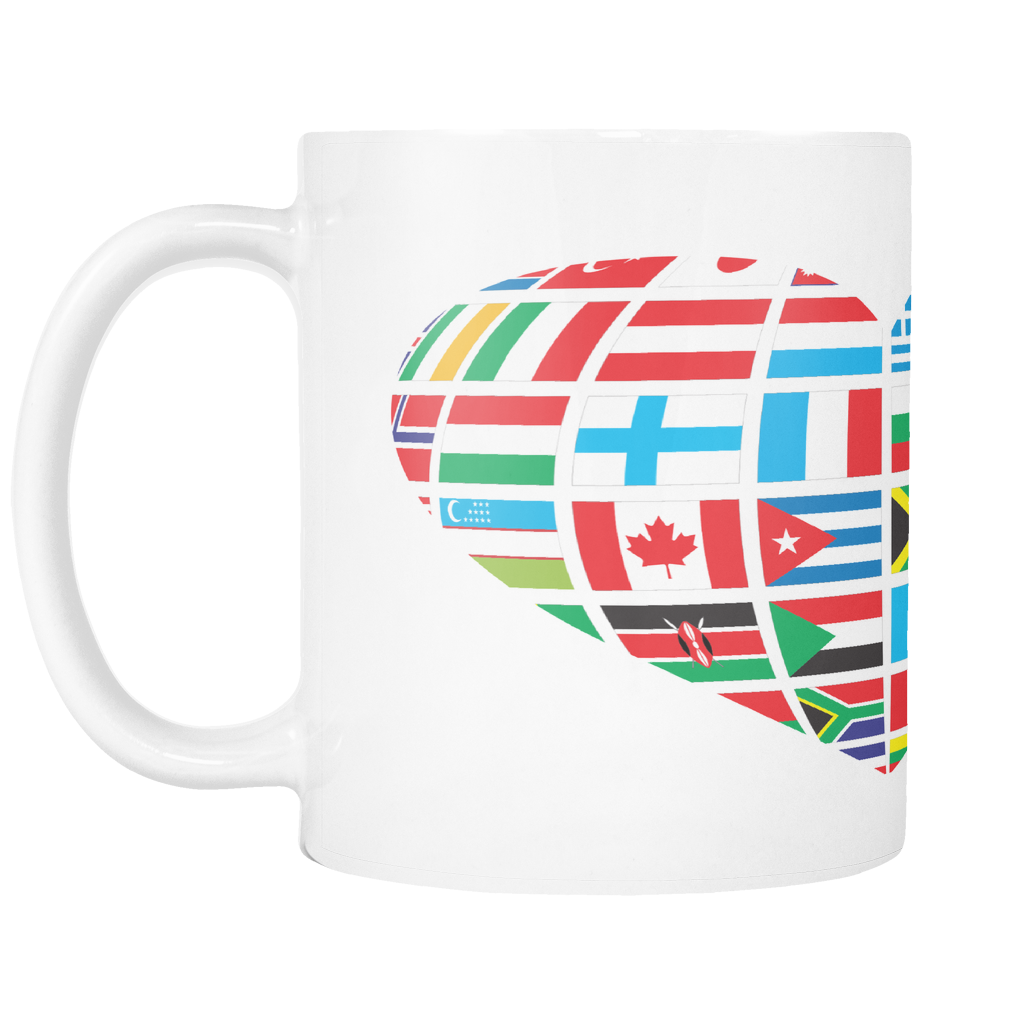 GLOBAL HEART ON 11 OUNCE COFFEE MUG