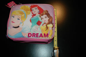 Disney princess girls lunch bag pink with zipper dare to dream new with roses