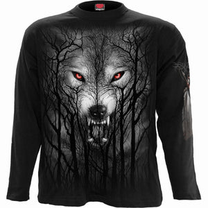 Spiral Direct Forest wolf gothic mens long sleeve graphic shirt