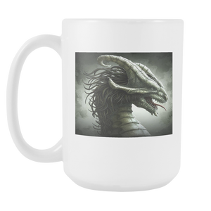 SILVER DRAGON TONGUE 15 OUNCE DOUBLE SIDED COFFEE MUG