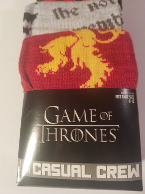 game of thrones mens casual crew socks 5 pair shoe SIZE 8-12 new in package