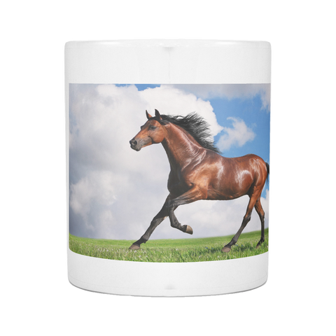 BROWN HORSE RUNNING 11 OUNCE MUG
