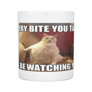 FAT CAT WATCHING YOU MEME 11 OUNCE COFFEE MUG