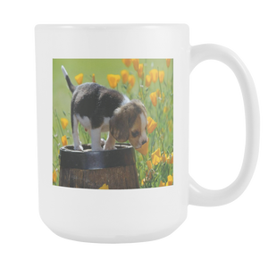 Puppy and flowers double sided 15 ounce coffee mug
