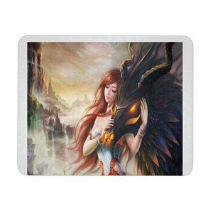 Dragon and girl fantasy mousepad