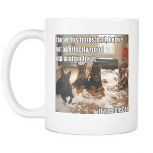Dogs blame cat meme 11 ounce double sided coffee mug