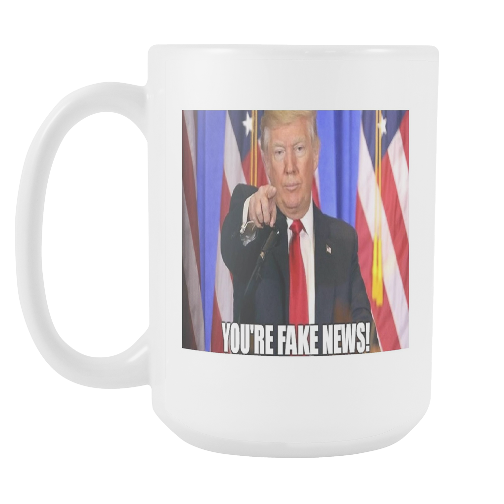 Trump fake news meme 15 ounce double sided coffee mug