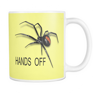 Hands Off Spider 11 ounce double sided coffee mug