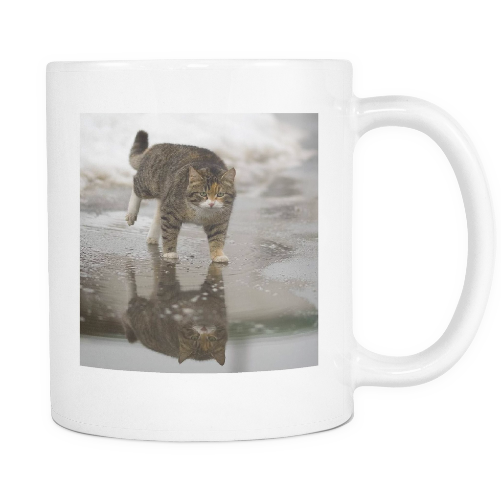 CAT ON WATER 11 OUNCE DOUBLE SIDED COFFEE MUG