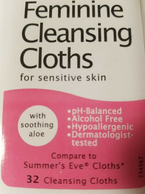 Feminine Cleansing Cloths For Sensitive Skin Wipes pH Summer Eve 4 pack new