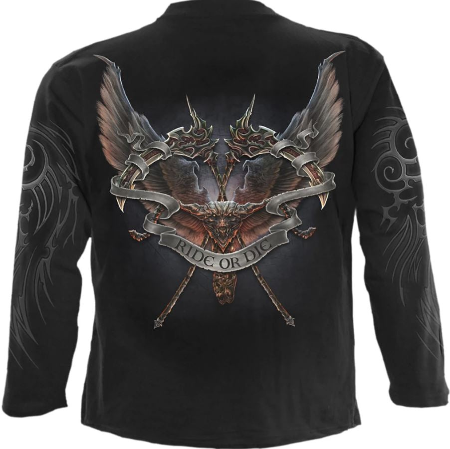 Ride or die long sleeve gothic biker mens t shirt